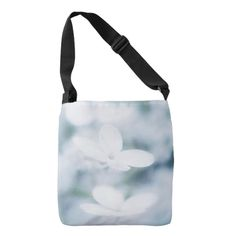 Beautiful white blossoms crossbody bag carry-all, pouch, studio, photo, photography, artwork, buy, bag, tote, drawstring, hydrangea, blossom, blossoms, bloom, blooming,  flower, flowers, tender, love, summer, garden, white, light, spring