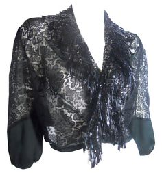 Fringed Black Sequined Glamour Wrap circa Early 1900s - Dorothea's Closet Vintage