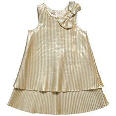 Metallic Gold Pleated Dress with Bow - Dresses - Girl | Childrensalon