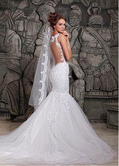 Alluring Tulle & Satin Spaghetti Straps Neckline Natural Waistline Mermaid Wedding Dress