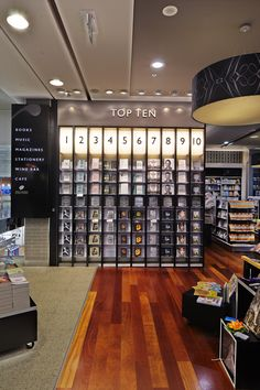 Watermark Books Melbourne Airport. Interior design, graphic design, signage and fixture design by Thoughtspace