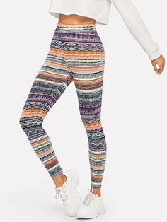 c1205cbc7de01e Geo Print Leggings -SheIn(Sheinside) Print Leggings, Leggings Are Not Pants,