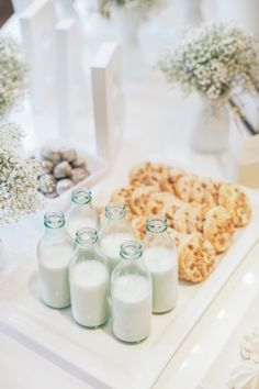 Milk and cookies with baby's breath florals - perfect baby shower decor