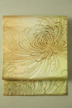 Very Mild Orenge Fukuro Obi (Rokutsu), Chrysanthemum Gradation Pattern