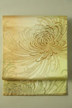 Very Mild Orenge Fukuro Obi (Rokutsu), Chrysanthemum   Gradation Pattern / 淡いオレンジと緑グラデ地 糸菊柄 六通袋帯   #Kimono #Japan http://www.rakuten.co.jp/aiyama/