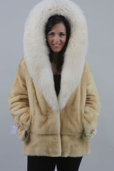 Saga Pastel Mink Fur Coat Stunning Cobra Fox Hood - SKANDINAVIK FUR Fabulous Fox, Mink Fur, Hoody, Fox Fur, Fur Coat, Furs, Saga, How To Wear, Jackets