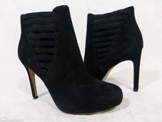 Via Spiga Bleu Black Suede Ankle Bootie Boots Womens 4 #ViaSpiga #FashionAnkle