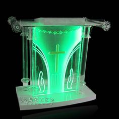 GH-S002, clear acrylic church pulpit with lights in side