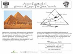 Worksheets: The Great Pyramids