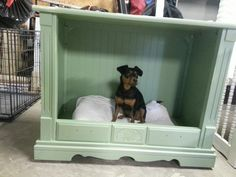 Repurposed tv console for a dog bed... Mia loves it - Time-for-Change