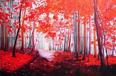 """New art by Maite Rodriguez; Painting, """"Red Forest"""" #art 160 x 240 cm Oil on Canvas www.maiterodriguez.es"""