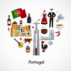 Portugal Flat vector image on VectorStock Flat Design Icons, Icon Design, Design Design, Illustrations, Flat Illustration, Design Thinking, Lisbon City, Design Plano, Medical Posters