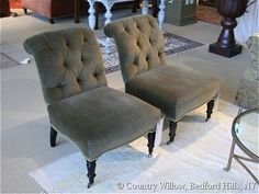 Velvet upholstered accent chair with tufted back and nailheads and casters available in hundreds of fabrics & leathers- Country Willow Furniture