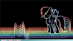 MLP FiM - electro Rainbow Dash.  This would look bad-ass as an embroidery, with color-changing thread.