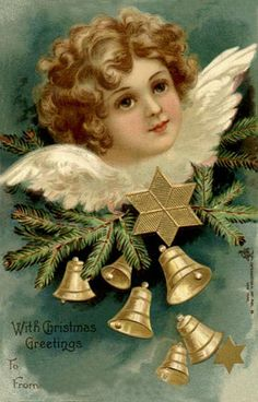 With Christmas greetings vintage postcard. #vintage #Christmas #cards