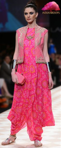 Pink Bandhini Gown With Bandi by Anita Dongre at Indianroots.com