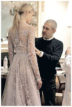 Backstage at Elie Saab Haute Couture, Spring Summer 2013 Evening Dresses, Prom Dresses, Wedding Dresses, Wedding Lace, Dresses 2016, Beautiful Gowns, Beautiful Outfits, Gorgeous Dress, Glamour