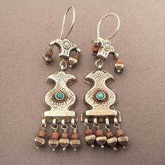 Old earrings from Central Asia.  |  Silver, gilded, coral and turquoises.