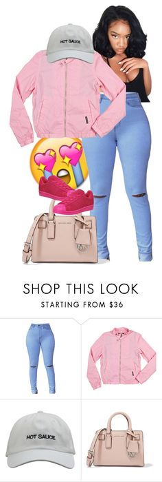 """pink is poppin"" by fightnight ❤ liked on Polyvore featuring Poetic Justice, Members Only, MICHAEL Michael Kors and adidas"