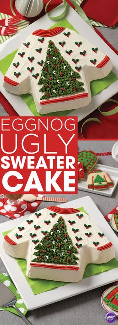 How to Make an Eggnog Ugly Sweater Cake - For a unique holiday dessert, bake an Ugly Sweater Cake! Using the Wilton T-Shirt Cake Pan, make this cake using your favorite yellow cake mix. Add eggnog for a hint of holiday flavor. This cake will surely be a hit at your next Ugly Sweater Party!