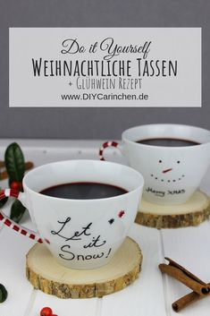 Simply make DIY Christmas-painted cups + mulled wine yourself - -Ad- DIY + Recipe: Christmas mugs and delicious mulled wine can be easily made by yourself + Sweeps - Diy Gifts Paper, Diy Gifts Valentine's Day, Diy Food Gifts, Painted Cups, Mulled Wine, Valentines Day Decorations, Christmas Mugs, Diy Weihnachten, Tableware