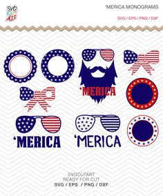 Merica Monograms SVG DXF PNG eps Patriot 4th July set independence day for Cricut Design, Silhouette studio, Makes the Cut, Instant download by SvgCutArt on Etsy