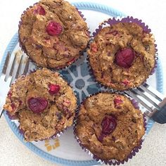 Pumpkin Cranberry Muffins shared by brianna_rae36! 1 cup vanilla Perfect Fit Protein, 1 cup whole wheat flour, 1/4 cup stevia, 2 tsp baking powder, 1 tsp baking soda, 2 tsp cinnamon, 2 tsp nutmeg, 1 cup egg whites, 1 cup pumpkin purée, 1 cup fresh cranberries (chopped), 1.5 cups unsweetened applesauce, 2 tsp coconut oil (melted), 1 tsp almond extract.  Mix dry ingredients in a large bowl. Stir in wet ingredients. Spray pan then pour batter.  Bake for 30 minutes at 350 degrees.