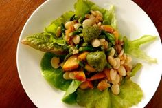 18 Deliciously Healthy Lima Bean Recipes: Asparagus, Nectarine and Baby Lima Bean Lettuce Wraps with Pesto