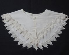Vintage 1980s White Large Cotton Button by VictorianWardrobe