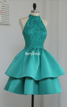 Green A Line High Neck Knee Length Tiered Beaded Appliques Lace Homecoming Dress