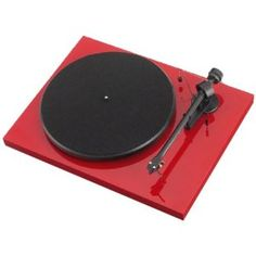 sumiko pro-ject debut III turntable in red with ortofon OM-5 cartridge.