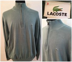 Mens Lacoste Pullover 1/2 Zip Sweater Size 8 100% Cotton Light Green #Lacoste #12Zip
