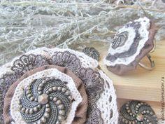 """Купить Комплект шоколадный """"Бронзовый век..."""" - текстильное кольцо и брошь - шоколадная брошь кольцо"""