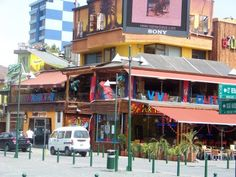 Plaza Foch in the Mariscal neighborhood in Quito. A colorful jumble of hotels, restaurants and tour agencies.