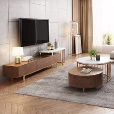 White Round Coffee Table, Walnut Coffee Table, Coffee Table With Storage, Decorating Coffee Tables, Living Room Tv Unit, Living Room Decor, Home Living Room, Mesa Oval, Tv Unit Furniture