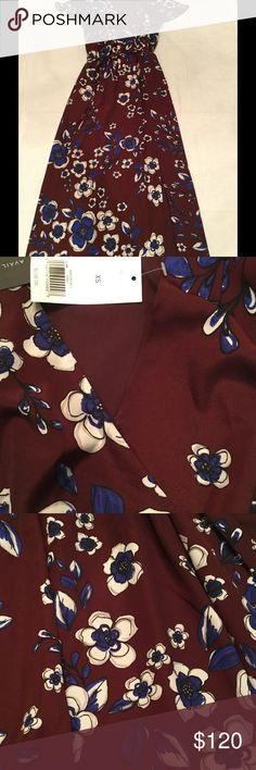 NWT Banana Republic Maxi Dress Beautiful deep purple Maxi dress from Banana Republic. New with tags but there is a faint smudge shown in the second photo. This might come out. Gorgeous color and print. Flutter sleeves and front side slit. Lined so not see through at all. Banana Republic Dresses Maxi