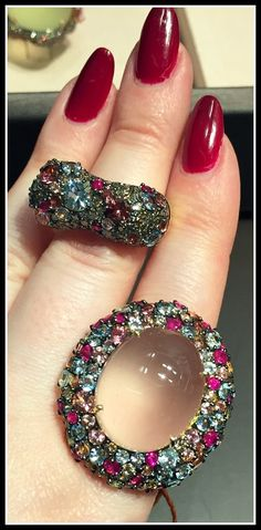 Two fabulous cocktail rings by Brumani, one with a glorious moonstone in the center.