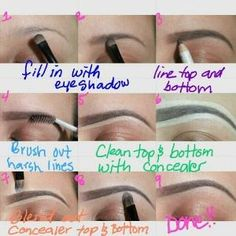 """the perfect brows how-to I know sooo many people who should read this! A full face of makeup looks sooo much better if you fix your brows! Sephora and Ulta also sell """"Brow Pencils"""" and they are simply fantastic! Perfect Eyebrows Tutorial, Perfect Brows, Eyebrow Shaping Tutorial, Eyebrow Tutorial For Beginners, Love Makeup, Makeup Looks, Full Face Of Makeup, Clean Makeup, Makeup Set"""