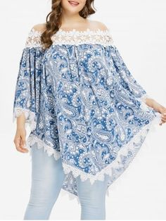 Chiczz Casual Loose Plus Size Sexy Lace Splicing Boat Neck Floral Print Shirt - Women Plus Size Shirts - Ideas of Women Plus Size Shirts Plus Size Shirts, Plus Size Blouses, Plus Size Tops, Plus Size Dresses, Plus Size Outfits, Plus Size Clothing, Clothing Stores, Plus Size Fashion For Women, Plus Size Women
