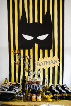 batman party, yellow and black party, boys birthday party idea, batman party idea, batman crafts, batman invitation