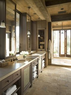 natural stone tile, barn wood ceiling, mission style vanity.