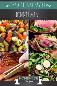 Traditional Easter Dinner Menu | https://homemaderecipes.com/traditional-easter-dinner-menu-recipes/