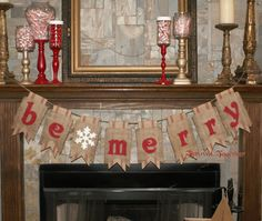 Christmas Banner Burlap & Red Webbing Pennants by ThrownTogether