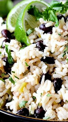 Cilantro Lime Rice and Black Beans-Really really good, even picky 7 year old loved it! - My WordPress Website Rice Recipes, Side Dish Recipes, Mexican Food Recipes, New Recipes, Vegetarian Recipes, Cooking Recipes, Favorite Recipes, Healthy Recipes, Healthy Dishes