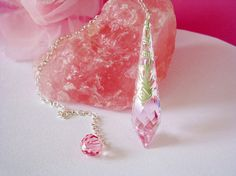 Pink Crystal Pendulum Single Point Crystal by CrystalBlueDesigns