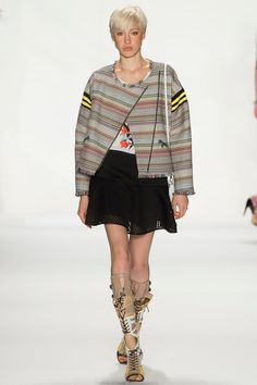 Rebecca Minkoff Spring 2014 Ready-to-Wear Collection Slideshow on Style.com - boxy trend - oversized - mini skirt -perforated - gladiator - short hair trend