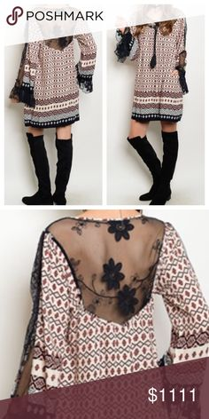 Coming Soon- New- Multi Color Dress Top Back lace and part sleeves with lace. 100% Viscose. Measurements to follow Dresses