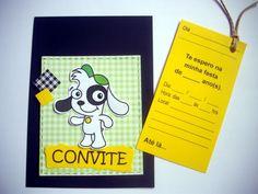 """Convitinho para aniversário no tema """"DOKI"""" Feito em scrapbook, medindo 1/4 de ofício (10x15cm). Com um cartão-convite no """"bolso"""", que vc puxa pelo cordão, e preenche os dados.  Este cartão-convite pode já ser impresso com os dados da festa ficando em branco apenas o nome dos convidados. Se preferir com o nome do convidado impresso também, o valor do convite é acrescido de $0,50 por unidade. Basta passar uma listagem, e enviamos as artes para aprovação antes de imprimir. O convite vem dentro…"""