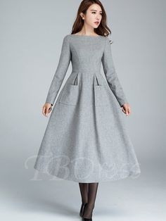 Tbdress.com offers high quality Double Pockets Plain Boat Neck Maxi Women's Long Sleeve Dress Long Sleeve Dresses unit price of $ 18.99.