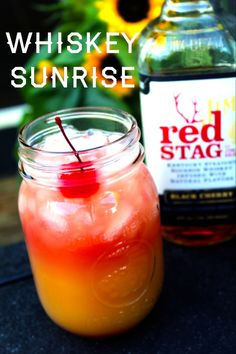Whiskey Sunrise oz Red Stag by Jim Beam Black Cherry Orange Juice Splash of Cranberry juice) just tried red stag for the first time the other day and holy shit is it good! Bourbon Cocktails, Whiskey Drinks, Bar Drinks, Cocktail Drinks, Yummy Drinks, Alcoholic Drinks, Fruity Cocktails, Cocktail Recipes, Drink Recipes